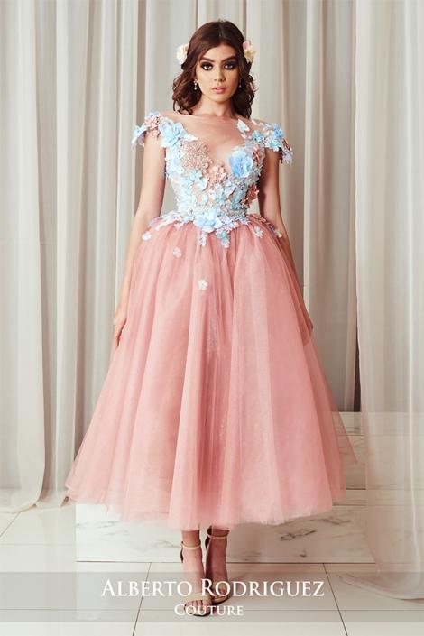 vestido 1 pieza con bordado de flor 3d