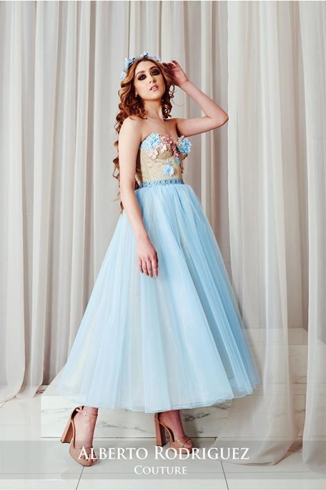 vestido azul y oro