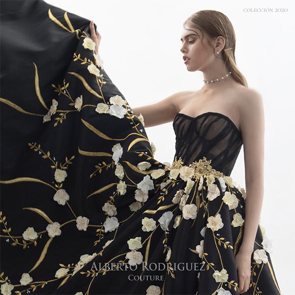 negro con nude bordado de flor 3d oro