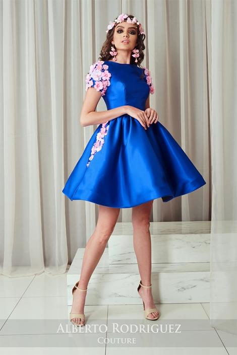 vestido 1 pza azul rey con rosa