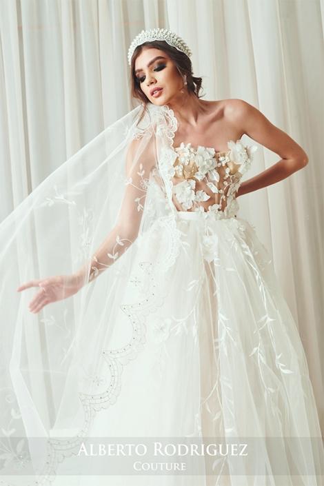vestido de novia blanco con nude