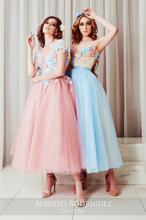 vestidos cortos con bordado 3d