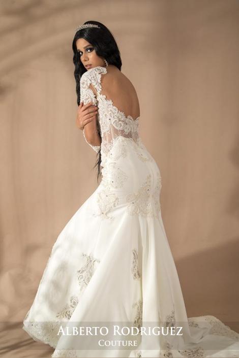 vestido de novia 1 pza corte sirena escote en espalda